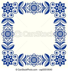 Scandinavian folk art vector frame, cute floral border, square pattern with navy blue flowers - invitation, greetings card. Floral retro background flowers inspired by swedish and norwegian Mirror Painting, Fabric Painting, Motif Floral, Floral Border, Scandinavian Quilts, Floral Embroidery, Embroidery Designs, Polish Folk Art, Navy Blue Flowers