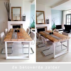 Eettafel Hampton gemaakt van oude geverfde balken met een wit stalen frame. In de stijl van onze eettafel Timber maar dan net weer anders....