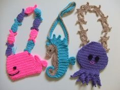 Purse Crochet Pattern, pattern pack includes instructions for a Whale purse, a Seahorse purse and an Octopus purse. $7.99 http://crochetvillage.com//