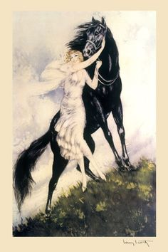 Icart Art Deco Horse Fashion Lady Fine Art by HeritagePosters