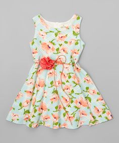 Look at this Green Floral A-Line Dress - Toddler & Girls on #zulily today!