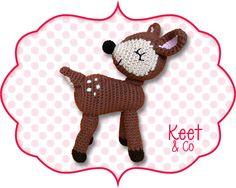 Free crochet pattern for deer by Keet & Co (in Dutch) Crochet Deer, Crochet Animals, Diy Crochet, Crochet Baby, Crochet Patterns Amigurumi, Baby Knitting Patterns, Crochet Dolls, Crochet For Kids, Bunt
