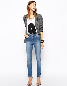 ASOS Ridely High Waist Ultra Skinny Jeans in Heritage Blue with Ripped Knees