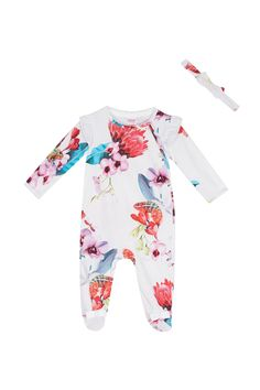 Buy Baker by Ted Baker Off White Placement Sleepsuit from the Next UK online shop Ted Baker Baby, Cute Bows, Next Uk, Uk Online, Off White, Floral Prints, Stuff To Buy, Shopping, Future Daughter