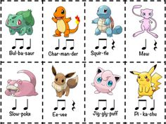 "Did you know that almost all Pokemon names are two beats long?Challenge your students to create rhythm compositions by using the names of their favorite Pokemon. I've given you 8 cards here, but your students will know hundreds of Pokemon to work with!Includes a ""drum refrain"" to use a well."