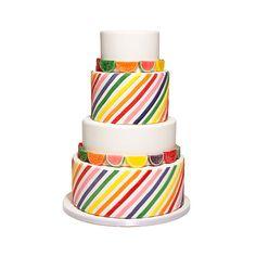 Brides.com: . Fondant rainbow stripes + citrus gummy candies = one showstopping cake.  $10 per slice, Sweet Element
