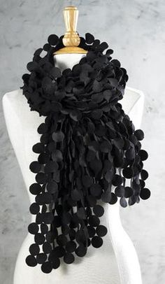 So fun!! Black Disc Cut-out Scarf