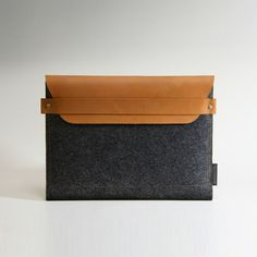 iPad Sleeve - Brown Leather with Charcoal Wool  By Keith Ting