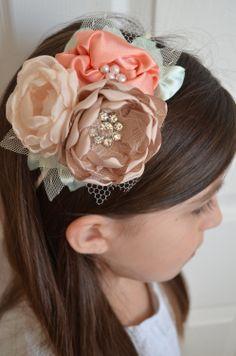The Iris Headband  Cream Peach Mint and by TheVintageCabbgeRose, $15.00