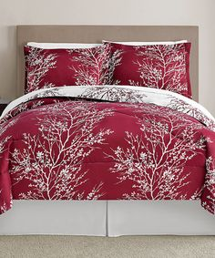 CUTE! Wish it was a KING size! Red & White Leaf Comforter Set #zulily…