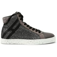 Hogan Rebel R182 High-top Sneakers ($245) ❤ liked on Polyvore featuring shoes, sneakers, grey, glitter high top sneakers, glitter sneakers, hi tops, gray shoes and high top trainers