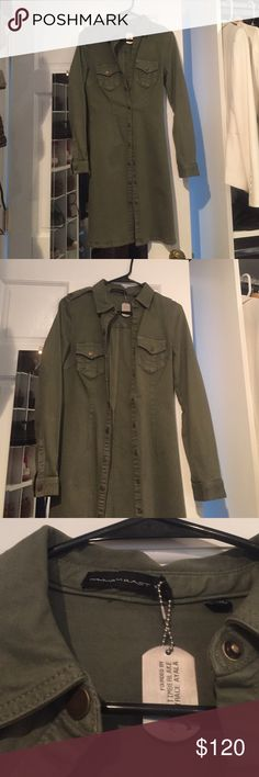 🆕William Rast amazing on trend army green jacket A stunning piece! Brand new! Never worn. Slightly fitted. The jacket is an army green with buttons all the way down so you can wear as a jacket or even a dress! Size 0 William Rast Jackets & Coats