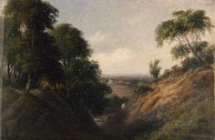 "Oil painting from the Fine Art collection. ""Poynings"" by James Bennett, showing a wooded scene with river. A village can be seen in the distance. 19th Century."