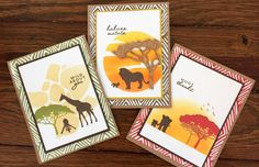 Cards created using Hero Arts My Monthly Hero June 2017 card kit.  Love that safari vibe!
