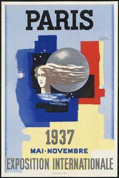Paris, Exposition Internationale de 1937 ¤ L'Expo internationale de 1937 est programmée dès 1934 et c'est le tout nouveau gouvernement du Front Populaire, élu en mai 1936, qui inaugure dans les gravats et la discorde nationale l'Exposition internationale des Arts et Techniques appliqués à la vie moderne.
