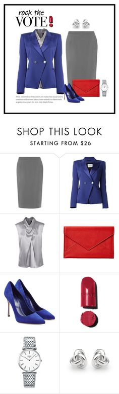 """""""Rock the Vote"""" by patricia-dimmick ❤ liked on Polyvore featuring WearAll, Pierre Balmain, Barbara Schwarzer, Graphic Image, Sergio Rossi, Chanel, Longines, Georgini and rockthevote"""