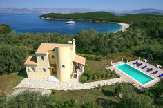 Book this individual handpicked Villas in Greece with private pool: Iliana, Avlaki (Kassiopi), Corfu, Sleeps 6 Villas In Corfu, Private Pool, Vintage Travel, Greece, Mansions, House Styles, Greece Country, Villas, Palaces