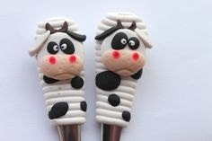 Decorative polymer clay cutlery Cow by VejaFeja on Etsy