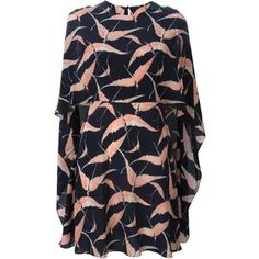 Валентино птица печати платье мыс