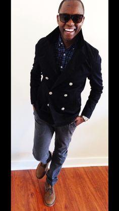 """It's all coming back at some point""  Cotton Peacoat - @Zara Men  Tartan Shirt - @J.Crew  Sustainable Belt - @HUCKSTRAPS  Slim ""D1"" Chinos - @Sharon Jones  Suede Desert Boots - @Clarks  Dress Watch - @Nixon_Now"