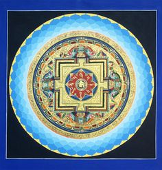 """Blue Lotus Mandala with sacred mantra """"Om Mani Padme Hum Ah Hung"""" Tibetan Mandala, Tibetan Art, Tibetan Buddhism, Buddhist Art, Lotus Painting, Mandala Painting, Lotus Mandala, Mandala Art, Shri Yantra"""