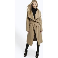 Boohoo Katherine Belted Shawl Collar Coat With PU Trim ($28) ❤ liked on Polyvore featuring outerwear, coats, camel, brown biker jacket, bomber jacket, camel coat, trench coat and brown bomber jacket