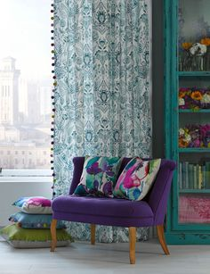 Aria fabric by bluebellgray  | SS14 Somerset Collection   Watercolour design inspired by the traditional textiles of designer Fi's travels
