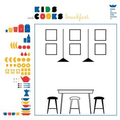 Adesivo | Gioco per la cameretta KIDS and COOKS di Le Macchinine  http://camaloon.it/esplora/artisti/flavia-le-macchinine/wall_stickers