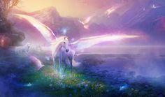 Unicorno bianco con ali volavano nel mondo di unicorno