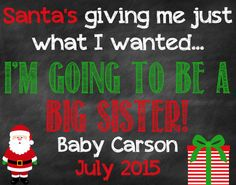 Big Sister Christmas Announcement Christmas by ChalkingItUpBoards