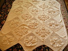 Ravelry Counterpane Bedspread Knit White Natural Ecru Cream