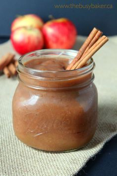 This Healthy 2 Ingredient Crock Pot Apple Butter is a delicious and healthy fall snack made easily in your slow cooker! No sugar added! thebusybaker.ca
