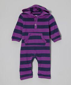 Purple & Navy Stripe Hooded Playsuit - Infant