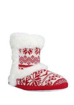 Tesco direct: F&F Faux Fur Trim Fair Isle Bootie Slippers