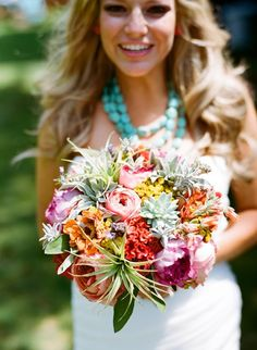 Colorful, textural, natural, bouquet with desert foliage and succulents ;)