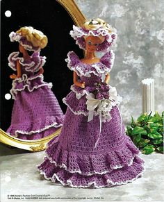 Bridesmaid  Crochet Pattern Annies Fashion Doll Crochet Club FC0201.