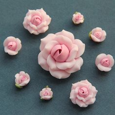 9pc- Set-Pink-Polymer Clay DIY Flowers for Earring Pendant Ring