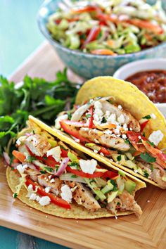 Lemon Pepper Chicken Tacos with Cilantro-Lime Slaw