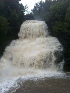 Raging Waterfalls in Montour Falls, NY after record flooding
