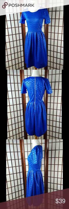 """LULAROE Royal Blue Shortsleeve Fit & Flare Dress PRE-OWNED gently worn  LULAROE SIZE SMALL Fit and flare dress style  Shortsleeve Chevron pattern shade of blue color Made of spun polyester and spandex  Stretchy fabric  Measurement Approximate Pit to pit 17.5""""  Waist 28""""  Shoulder to hem 39""""  #3 LuLaRoe Dresses"""