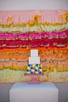The perfect fringe backdrop and geometric cake for your spanish themed wedding #wedding #spanish