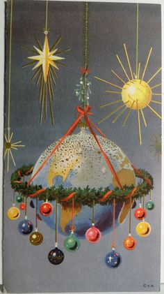 50s Mid Century Sputnik Earth Christmas decoration.