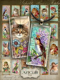 "Digital Collage Sheet EPHEMERA DOMINOES 1""x2"" size printable vintage images for pendants rectangle domino bezel settings magnets art cult"