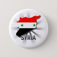 Shop Syria Flag Map Pinback Button created by representmycountry.