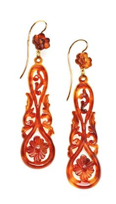 Carved Tortoiseshell Romantic Victorian Long Earrings, Victorian beautifully scroll carved long earrings. USA circa 1890. Z