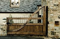 wooden gate - images from Christopher Architecture and Interiors on Dering Hall Farm Gate, Fence Gate, Fencing, Garden Gate, Tor Design, Gate Design, Front Gates, Entrance Gates, Driveway Entrance
