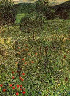 Blumenwiese in Litzlberg / (Flower Field in Litzlberg), 1905 by Gustav Klimt - 110 x 110 cm, Oil on canvas I A horizontal path was probably painted over – not by himself and the fact that the painting is not signed, lead to the presumtion that the painting has never been finished.