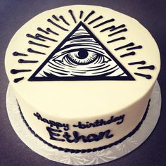 Illuminati Birthday Cake. #stuffedcakes #customcake #handpaintedcake #illuminaticonfirmed by Stuffed Cakes StuffedCakes.com Custom Cakes | Seattle, WA, USA
