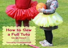 How to sew a tutu (no tulle strips) in an hour. It took a little longer than an hour considering that I carefully cut the strips, but the end result was awesome.