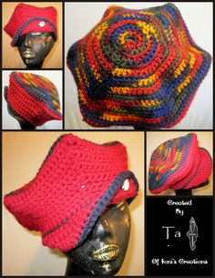 """Ioni's Creations    Red Claret and Blue Wide Newsboy Cap with Polo Top with Cowry    PC008A - Claret and Blue Wide Newsboy Cap with Polo Top    My twist on the newsboy cap, turned up cute with a cowry.    Hat size 23""""   4"""" Tall   11"""" Diameter      Made and Designed by Ta Ankh of Ioni's Creations    $45.00    To Purchase, press this link:  https://www.etsy.com/listing/90471120/red-claret-and-blue-wide-newsboy-cap"""